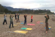 Rope-Based Yoga Classes on the Beach