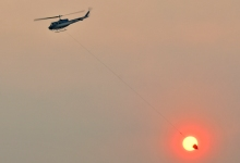 Helicopters Back Dropping Water on Thomas Fire Leftover