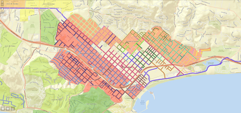 Santa Barbara Launches Interactive Street Sweep Map - The ... on des moines new mexico map, goleta zip code map, corona street map, central california road map,
