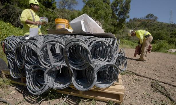 Crews Prep for Debris Net Installation in San Ysidro Canyon