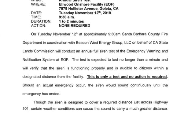 Ellwood Annual Emergency Siren Test