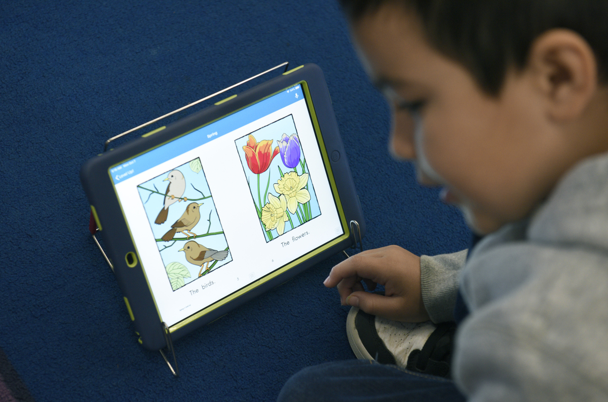A student at Franklin School using an iPad as part of the techEQUITY program