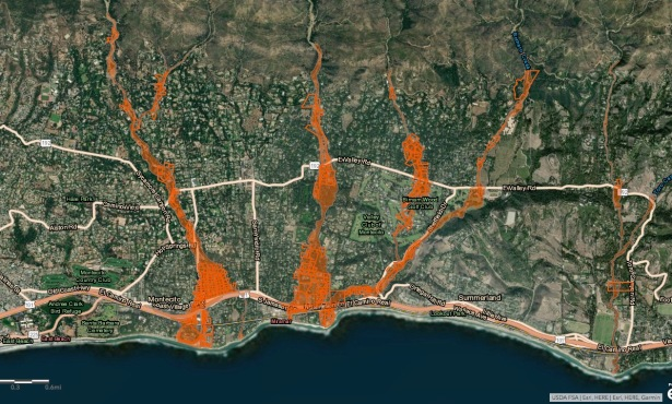 County Releases New Debris Flow Map for Montecito