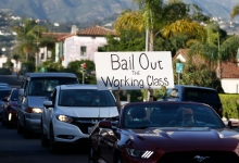 A Caravan of Cars and Bikes Show Support for Santa Barbara Workers