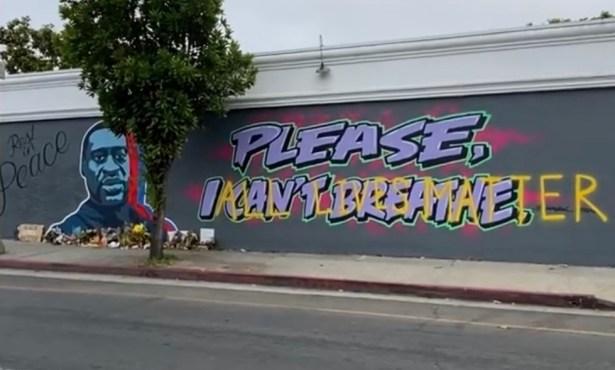 George Floyd Mural Defaced in Santa Barbara