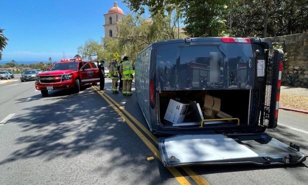 Delivery Van Flips near Old Mission Santa Barbara