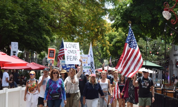 Rally Against Masks and Vaccines Comes to Santa Barbara