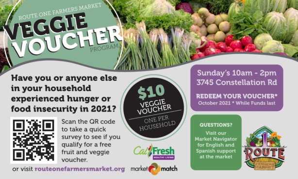 """Route One Farmers Market Launches """"Veggie Voucher""""  Program for the Month of October"""