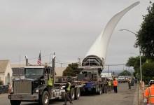 Strauss Wind Turbine Blades Truck Slowly Through Lompoc