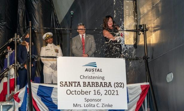 Lola Zinke Christens USS 'Santa Barbara'